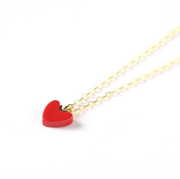 小红心项链锁骨链颈链